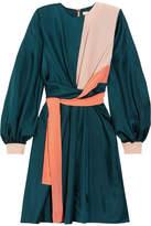 Roksanda Gyda Twist-front Color-block Silk-twill Dress - Petrol