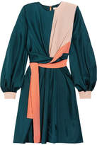 Roksanda Gyda Twist-front Color-block Silk-twill Dress