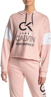 Calvin Klein Logo Print Dolman Crop Hoodie