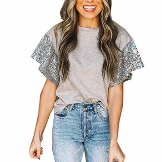 jieGorge Blouse for Women Casual Women's Fashion Color Splicing Sequins Loose Round Neck Short Sleeve T-Shirt Top