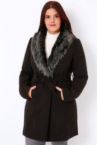 Yours Clothing Black Tie Waist Coat With Faux Fur Collar