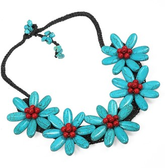 Aeravida Handmade Five Turquoise Flowers with Synthetic Coral Center Stone Necklace