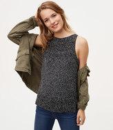 LOFT Petite Marled Stitch Striped Sweater Tank
