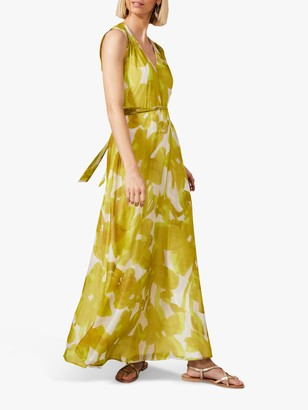 Phase Eight Coline Floral Print Tie Waist Maxi Dress, Chartreuse/Ivory