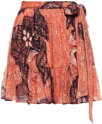 Ulla Johnson Zea Metallic Fil Coupe Printed Silk And Lurex-blend Mini Skirt