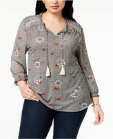 Style&Co. Style & Co Plus Size Printed Embroidered Peasant Top, Created for Macy's