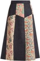 RED Valentino Patchwork wool-herringbone midi skirt
