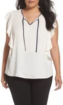 Sejour Plus Size Women's Flutter Sleeve Tie Neck Top