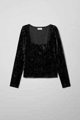Weekday Norah Velvet Long Sleeve - Black