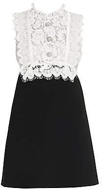 Miu Miu Women's Lace-Trim Bodice Mini Dress