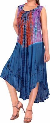 LA LEELA Everyday Essentials Women's Hand Tie Dye Short Beach Dress Vintage Casual Midi Evening Loungewear Short Sleeve Caftan Tunic Cover up One Size Large Cruise wear Blue_Y478 Size-14 (M)-24 (2XL)