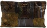 Prada Khaki Python Clutch bags
