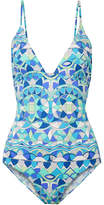 Emilio Pucci Arenal Embellished Printed Swimsuit - Azure