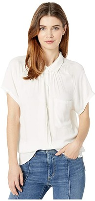bobi Los Angeles Raglan Button-Up Shirt in Rayon Crepe (Ivory) Women's Clothing