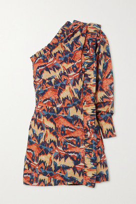 CHUFY One-sleeve Printed Fil Coupe Cotton-blend Voile Mini Dress