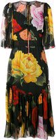 Dolce & Gabbana rose print midi dress - women - Silk/Cotton/Nylon/Spandex/Elastane - 44
