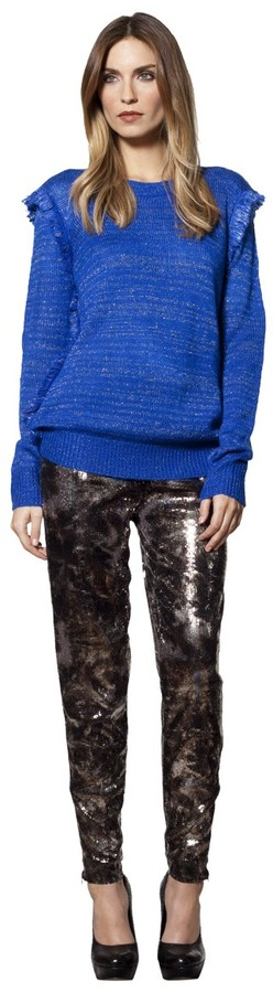 House Of Harlow Fringe Pullover Sweater
