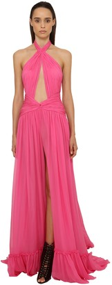 Dundas Georgette Long Dress W/ Cut Outs