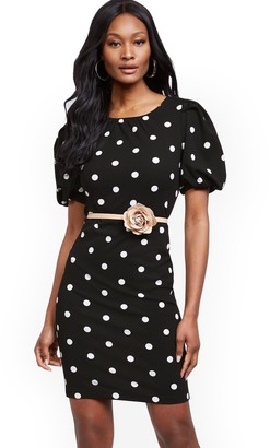 New York & Co. Dot-Print Puff-Sleeve Sheath Dress