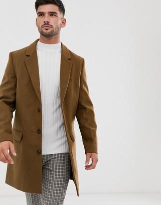 New Look overcoat in camel