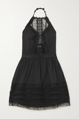 Charo Ruiz Ibiza Andrea Crocheted Lace-paneled Cotton-blend Mini Dress - Black