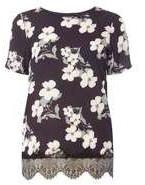 Dorothy Perkins Woblack Floral Woven Front T-shirt- Black