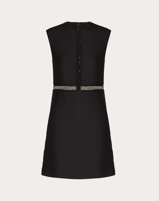 Valentino Short Embroidered Crepe Couture Dress Women Black Virgin Wool 65%, Silk 35% 36