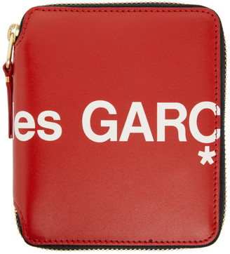 Comme des Garçons Wallets Red Huge Logo Zip-Around Wallet