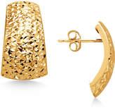 Macy's Crystal-Cut Domed Hoop Earrings in Italian 14k Gold