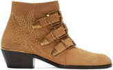 Chloé Tan Suede & Gold Studded Susanna Boots