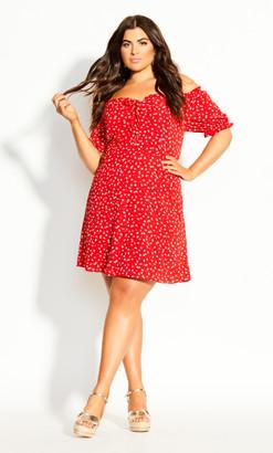 City Chic Tie Blossom Dress - red