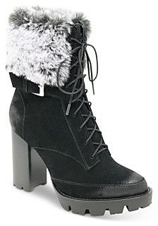 Charles David Women's Gutsy Faux Fur Trim Suede High Heel Booties