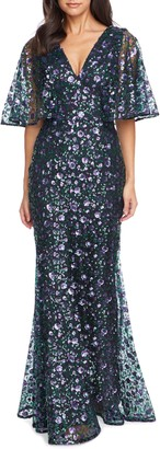 Dress the Population Laine Sequin Lace Cape Sleeve Gown
