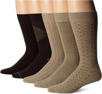Dockers 5 Pack Classics Dress Dashed Crew Socks