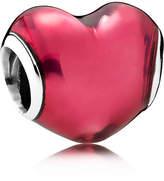 Pandora Heart Beat Charm - Enamel / Sterling Silver / Red