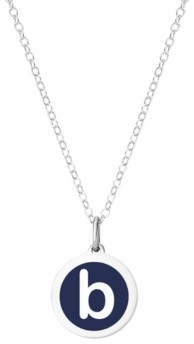 """Auburn Jewelry Mini Initial Pendant Necklace in Sterling Silver and Navy Enamel, 16"""" + 2"""" Extender"""