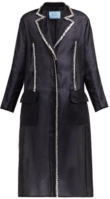 Prada Crystal Single-breasted Silk-organza Coat - Womens - Black Multi