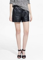 Mango Outlet High-Waist Leather Shorts