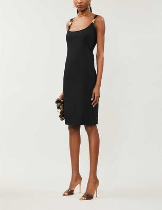 Versace Buckle-strap crepe midi dress