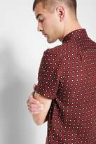 7 For All Mankind Short Sleeve Oxford In Burnt Red