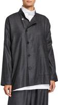 eskandar Wool-Silk Side-Button Mandarin Jacket