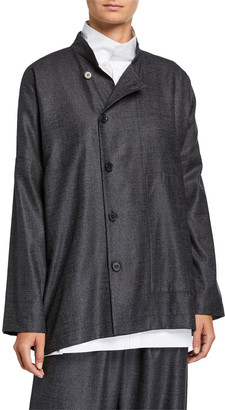 eskandar Wool-Silk Side-Button Mandarin Jacket