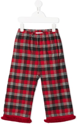 Touriste Plaid Print Fringed Trousers