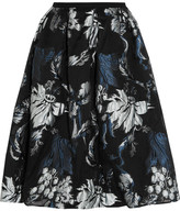 Erdem Halyn Pleated Metallic Jacquard Skirt - Black
