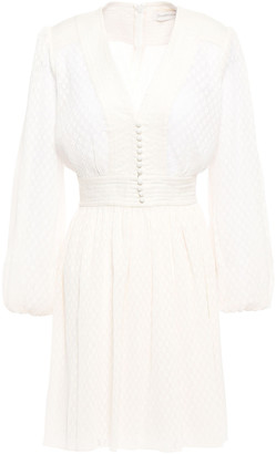 Zimmermann Gauze-paneled Plisse Fil Coupe Georgette Mini Dress