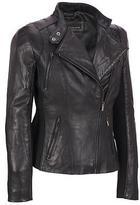 Wilsons Leather Womens Plus Size Knit Inset Asymmetric Leather Scuba W/ Zip Deta