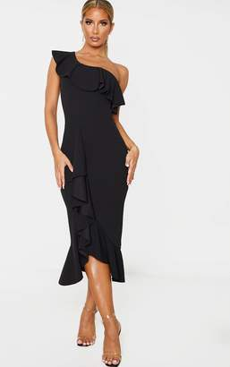 PrettyLittleThing Black One Shoulder Ruffle Detail Midi Dress