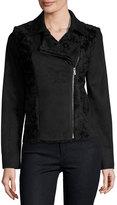 T Tahari Faux-Suede & Faux-Fur Moto Jacket, Black