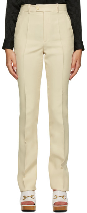 Gucci Beige Wool and Silk Flare Trousers