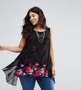Koko Double Layer Chiffon Contrast Floral Print Blouse